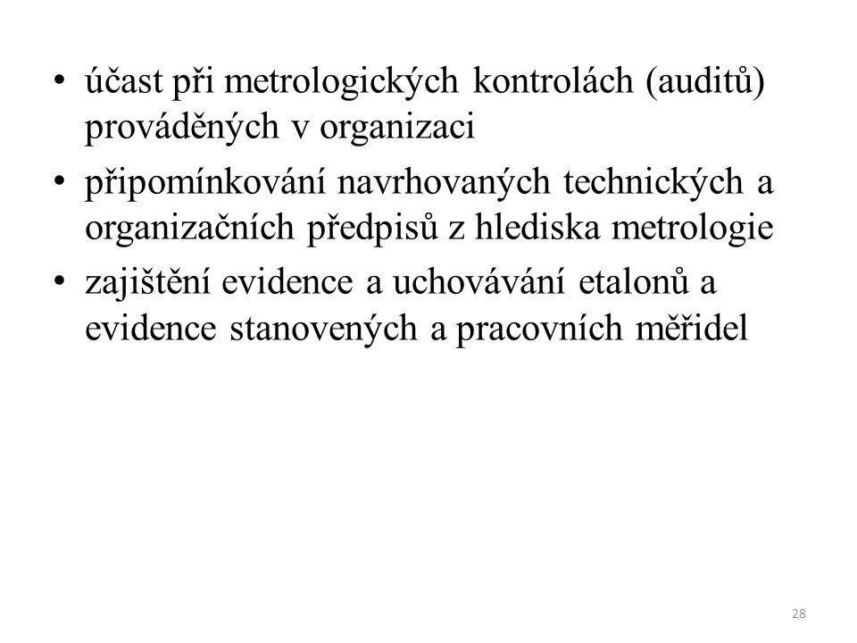 28 účast při metrologických kontrolách (auditů) prováděných v organizaci připomínkování navrhovaných technických a organizačních předpisů z hlediska metrologie zajištění evidence a uchovávání etalonů a evidence stanovených a pracovních měřidel