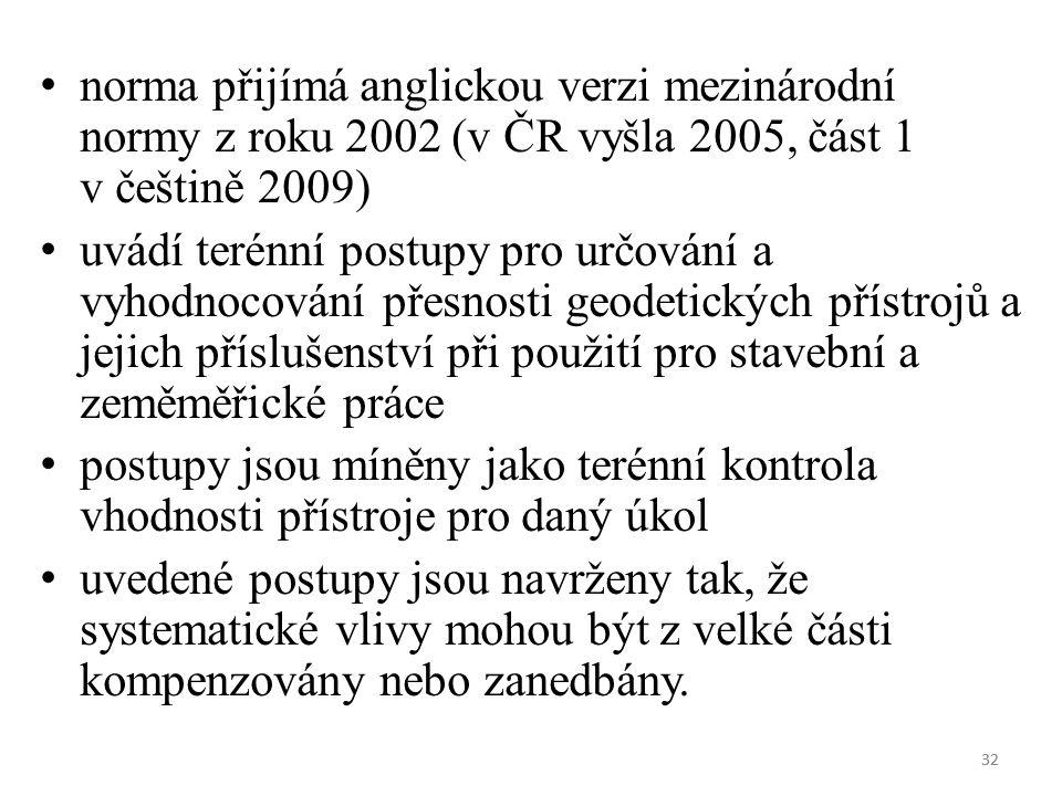32 norma přijímá anglickou verzi mezinárodní normy z roku 2002 (v ČR vyšla 2005, část 1 v češtině 2009) uvádí terénní postupy pro určování a vyhodnocování přesnosti geodetických přístrojů a jejich příslušenství při použití pro stavební a zeměměřické práce postupy jsou míněny jako terénní kontrola vhodnosti přístroje pro daný úkol uvedené postupy jsou navrženy tak, že systematické vlivy mohou být z velké části kompenzovány nebo zanedbány.