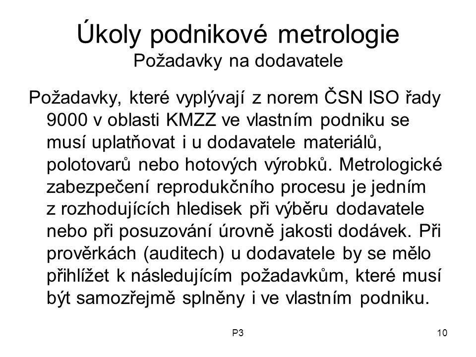 P310 Úkoly podnikové metrologie Požadavky na dodavatele Požadavky, které vyplývají z norem ČSN ISO řady 9000 v oblasti KMZZ ve vlastním podniku se mus