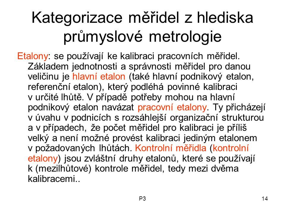 P314 Kategorizace měřidel z hlediska průmyslové metrologie Etalony: se používají ke kalibraci pracovních měřidel. Základem jednotnosti a správnosti mě