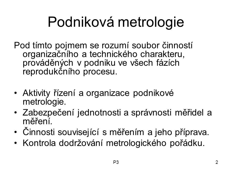 P32 Podniková metrologie Pod tímto pojmem se rozumí soubor činností organizačního a technického charakteru, prováděných v podniku ve všech fázích reprodukčního procesu.