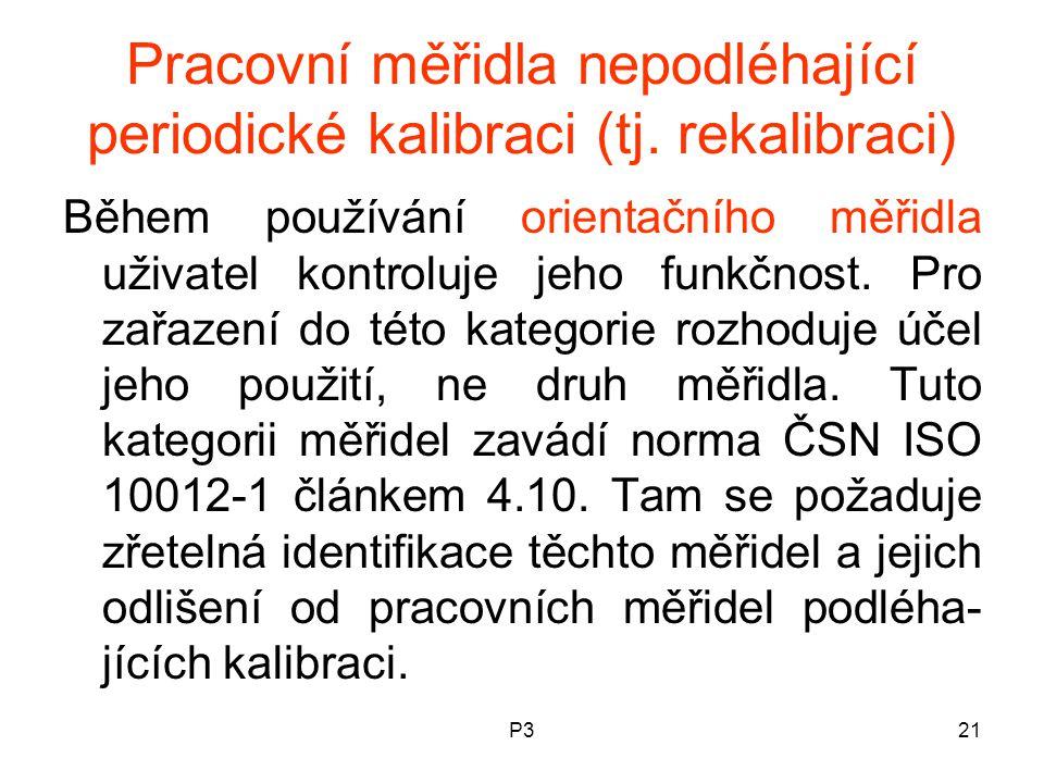 P321 Pracovní měřidla nepodléhající periodické kalibraci (tj.