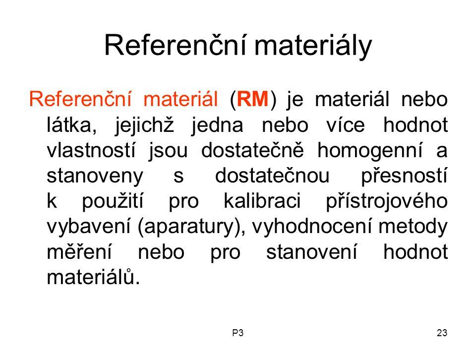 P323 Referenční materiály Referenční materiál (RM) je materiál nebo látka, jejichž jedna nebo více hodnot vlastností jsou dostatečně homogenní a stanoveny s dostatečnou přesností k použití pro kalibraci přístrojového vybavení (aparatury), vyhodnocení metody měření nebo pro stanovení hodnot materiálů.