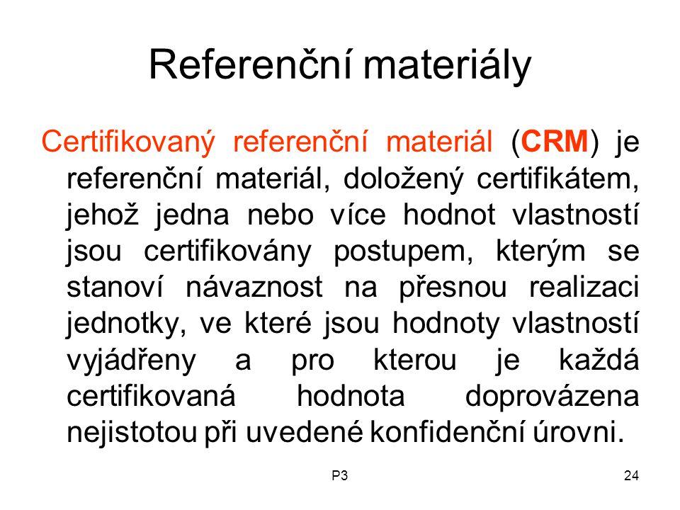 P324 Referenční materiály Certifikovaný referenční materiál (CRM) je referenční materiál, doložený certifikátem, jehož jedna nebo více hodnot vlastností jsou certifikovány postupem, kterým se stanoví návaznost na přesnou realizaci jednotky, ve které jsou hodnoty vlastností vyjádřeny a pro kterou je každá certifikovaná hodnota doprovázena nejistotou při uvedené konfidenční úrovni.