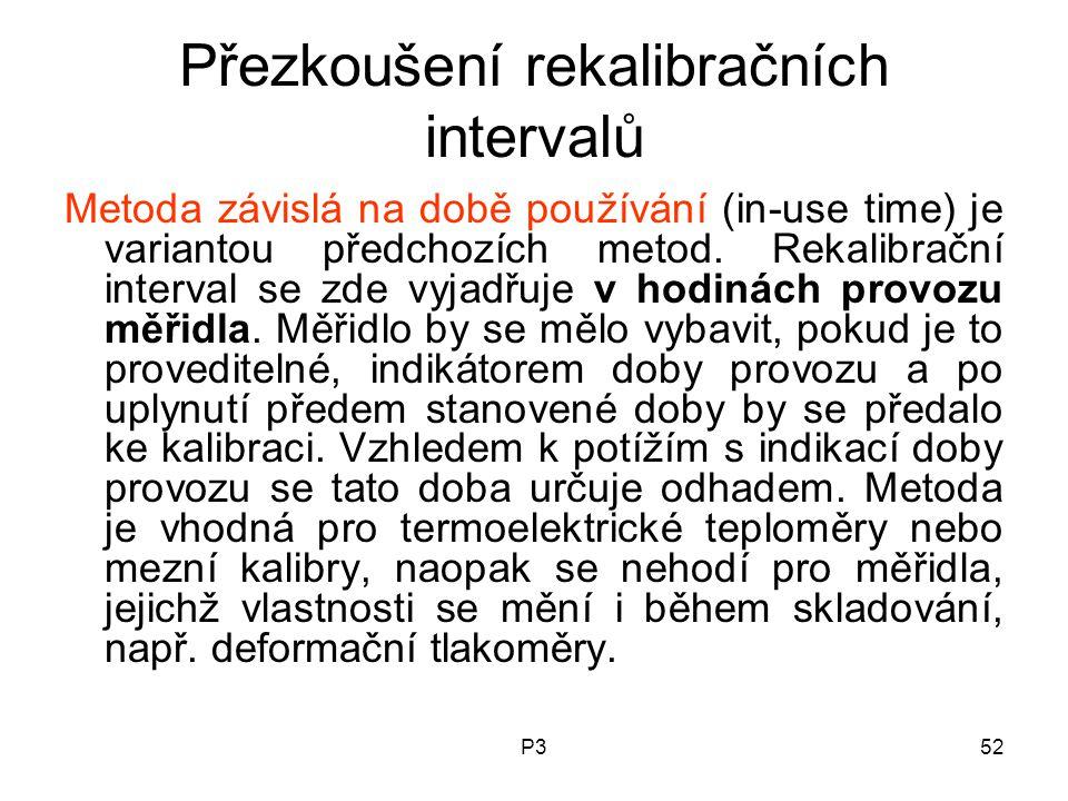 P352 Přezkoušení rekalibračních intervalů Metoda závislá na době používání (in-use time) je variantou předchozích metod. Rekalibrační interval se zde