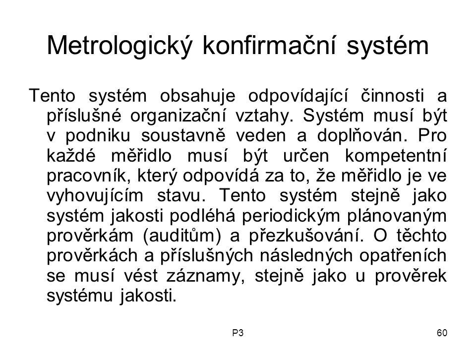 P360 Metrologický konfirmační systém Tento systém obsahuje odpovídající činnosti a příslušné organizační vztahy.