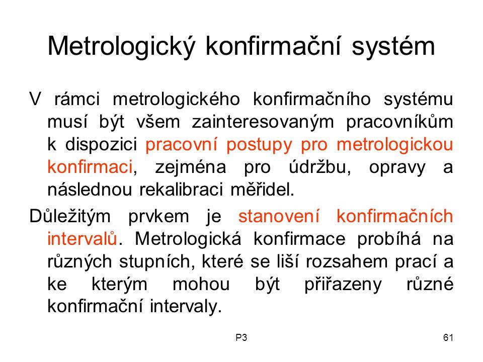 P361 Metrologický konfirmační systém V rámci metrologického konfirmačního systému musí být všem zainteresovaným pracovníkům k dispozici pracovní postupy pro metrologickou konfirmaci, zejména pro údržbu, opravy a následnou rekalibraci měřidel.