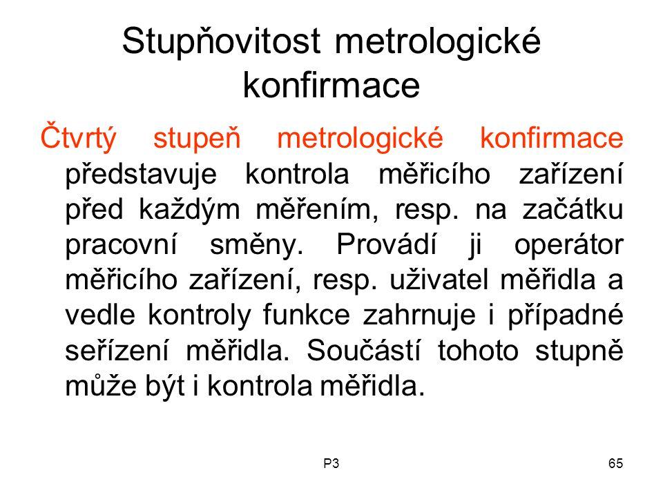 P365 Stupňovitost metrologické konfirmace Čtvrtý stupeň metrologické konfirmace představuje kontrola měřicího zařízení před každým měřením, resp. na z