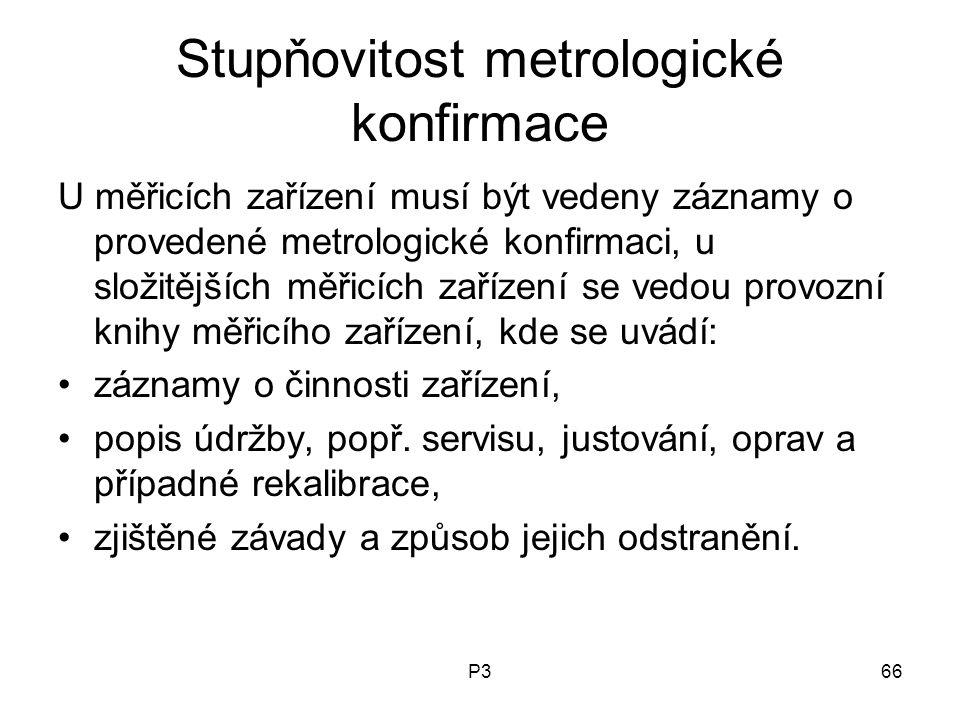 P366 Stupňovitost metrologické konfirmace U měřicích zařízení musí být vedeny záznamy o provedené metrologické konfirmaci, u složitějších měřicích zař