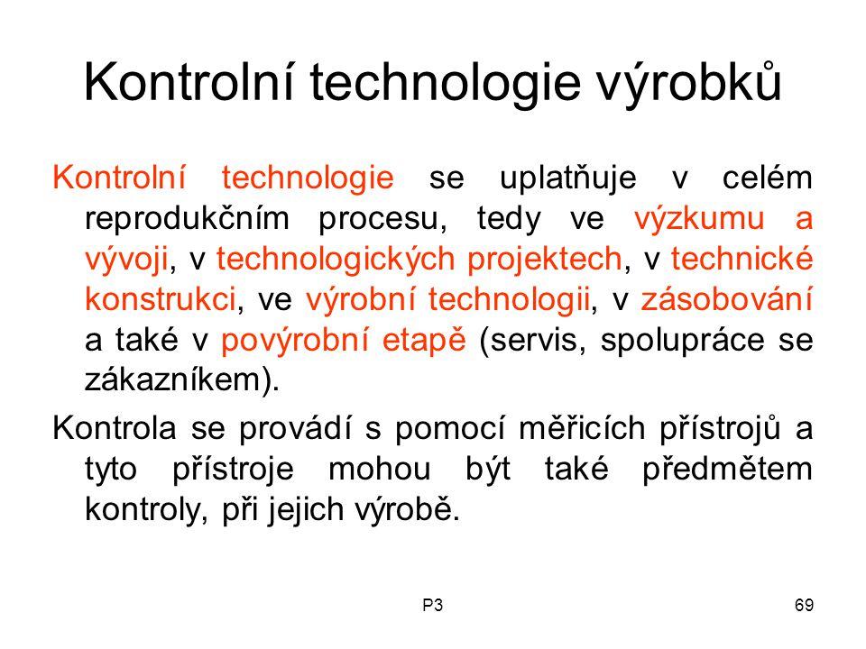P369 Kontrolní technologie výrobků Kontrolní technologie se uplatňuje v celém reprodukčním procesu, tedy ve výzkumu a vývoji, v technologických projek