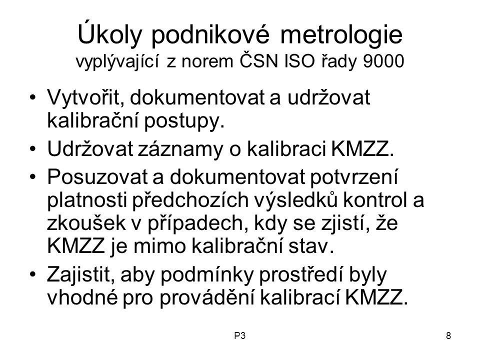 P38 Úkoly podnikové metrologie vyplývající z norem ČSN ISO řady 9000 Vytvořit, dokumentovat a udržovat kalibrační postupy. Udržovat záznamy o kalibrac