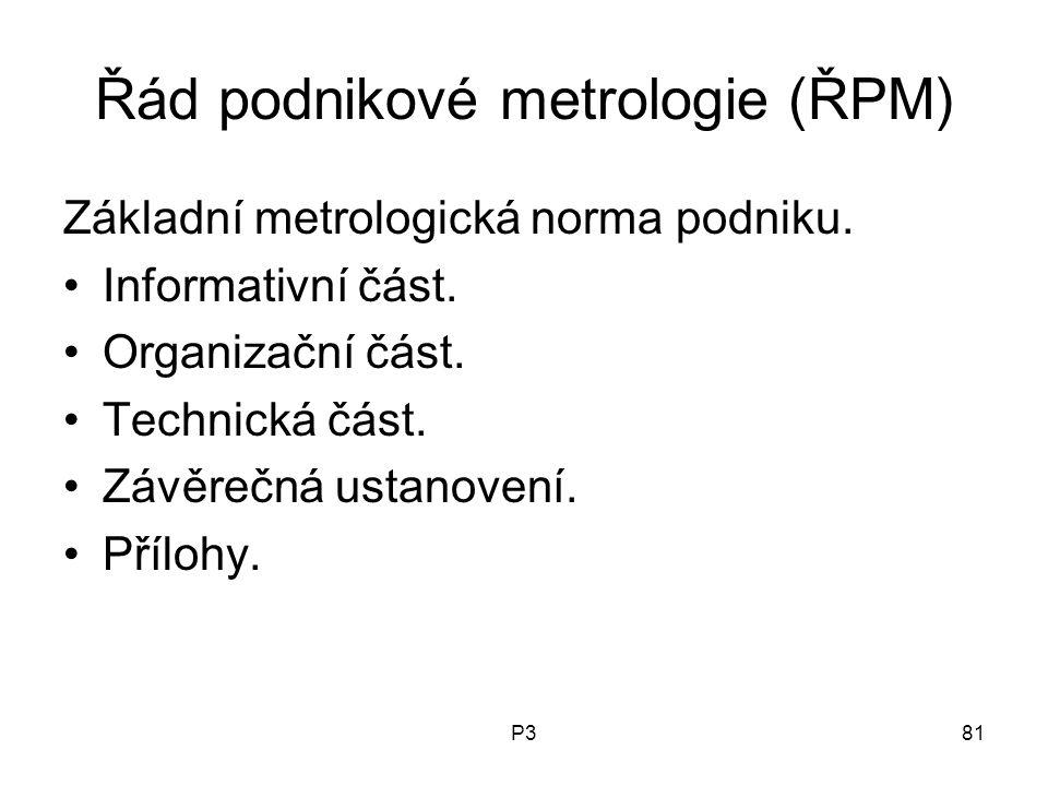 P381 Řád podnikové metrologie (ŘPM) Základní metrologická norma podniku. Informativní část. Organizační část. Technická část. Závěrečná ustanovení. Př