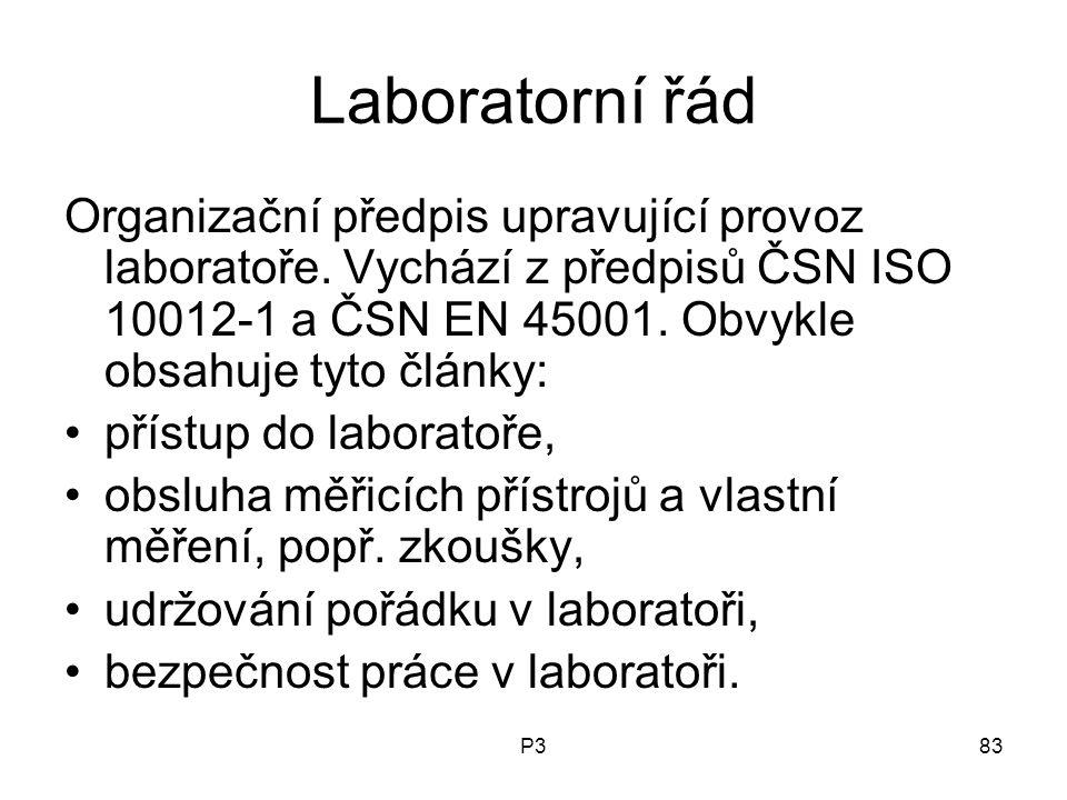 P383 Laboratorní řád Organizační předpis upravující provoz laboratoře. Vychází z předpisů ČSN ISO 10012-1 a ČSN EN 45001. Obvykle obsahuje tyto články