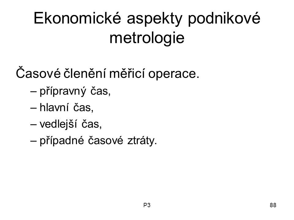 P388 Ekonomické aspekty podnikové metrologie Časové členění měřicí operace. –přípravný čas, –hlavní čas, –vedlejší čas, –případné časové ztráty.