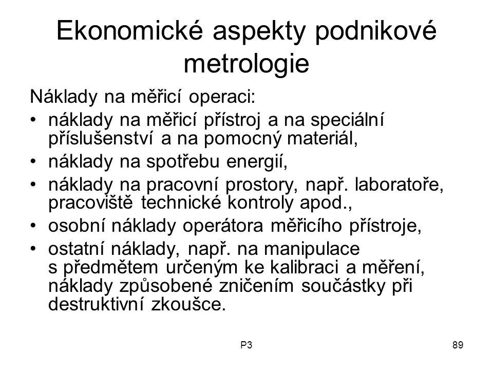 P389 Ekonomické aspekty podnikové metrologie Náklady na měřicí operaci: náklady na měřicí přístroj a na speciální příslušenství a na pomocný materiál,