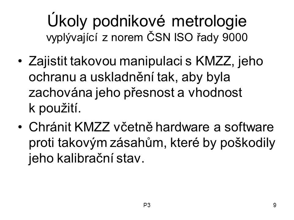 P39 Úkoly podnikové metrologie vyplývající z norem ČSN ISO řady 9000 Zajistit takovou manipulaci s KMZZ, jeho ochranu a uskladnění tak, aby byla zacho