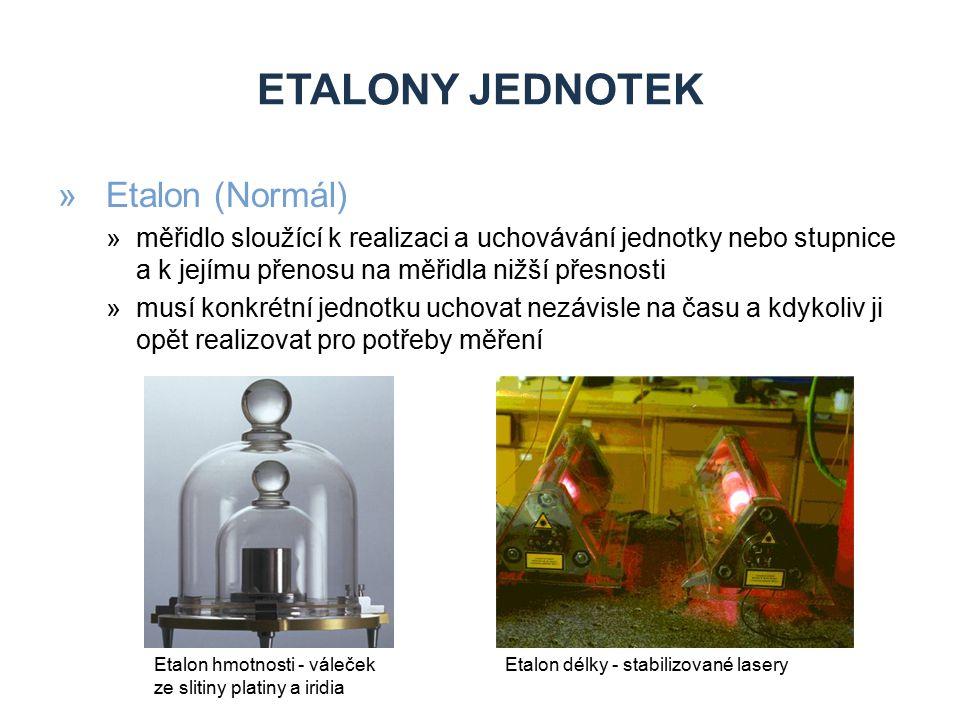 ETALONY JEDNOTEK »Etalon (Normál) »měřidlo sloužící k realizaci a uchovávání jednotky nebo stupnice a k jejímu přenosu na měřidla nižší přesnosti »mus