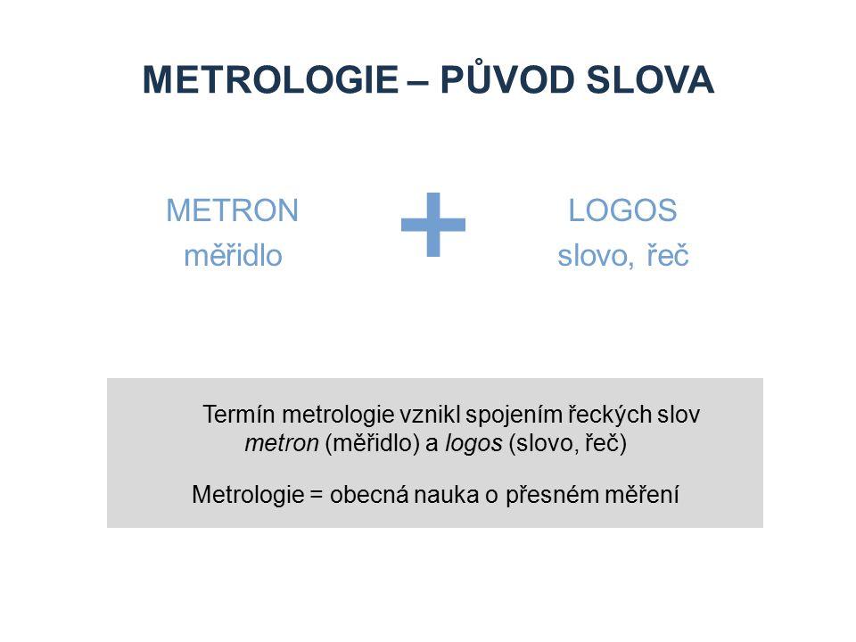 METROLOGIE – PŮVOD SLOVA METRON měřidlo LOGOS slovo, řeč Termín metrologie vznikl spojením řeckých slov metron (měřidlo) a logos (slovo, řeč) Metrolog