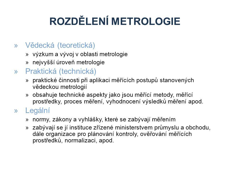 ROZDĚLENÍ METROLOGIE »Vědecká (teoretická) »výzkum a vývoj v oblasti metrologie »nejvyšší úroveň metrologie »Praktická (technická) »praktické činnosti