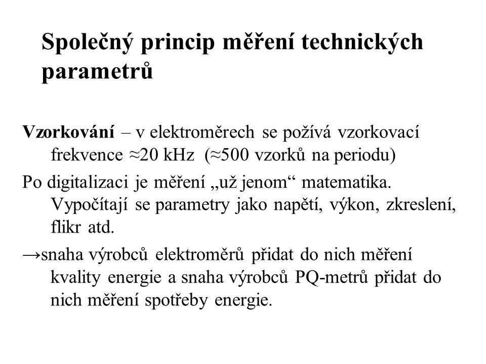 """Společný princip měření technických parametrů Vzorkování – v elektroměrech se požívá vzorkovací frekvence ≈20 kHz (≈500 vzorků na periodu) Po digitalizaci je měření """"už jenom matematika."""