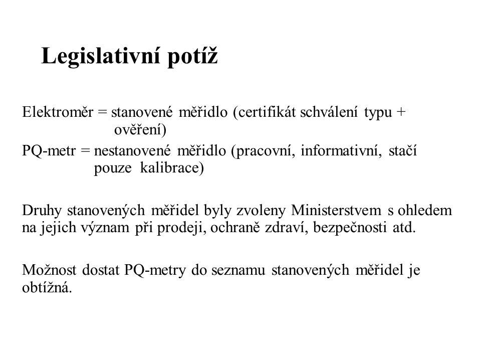 Legislativní potíž Elektroměr = stanovené měřidlo (certifikát schválení typu + ověření) PQ-metr = nestanovené měřidlo (pracovní, informativní, stačí pouze kalibrace) Druhy stanovených měřidel byly zvoleny Ministerstvem s ohledem na jejich význam při prodeji, ochraně zdraví, bezpečnosti atd.
