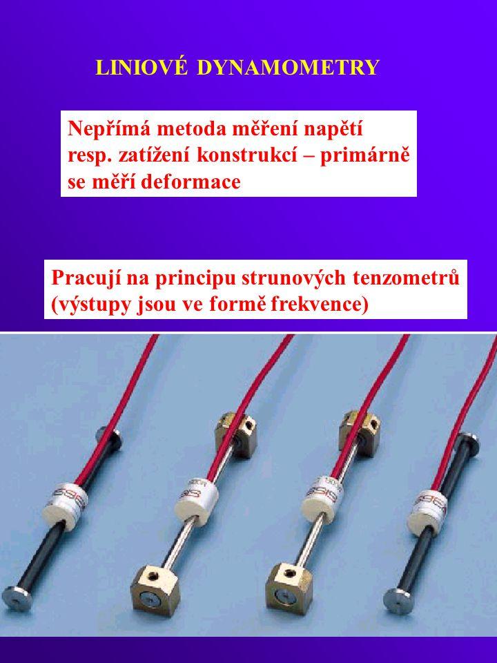 LINIOVÉ DYNAMOMETRY Nepřímá metoda měření napětí resp. zatížení konstrukcí – primárně se měří deformace Pracují na principu strunových tenzometrů (výs