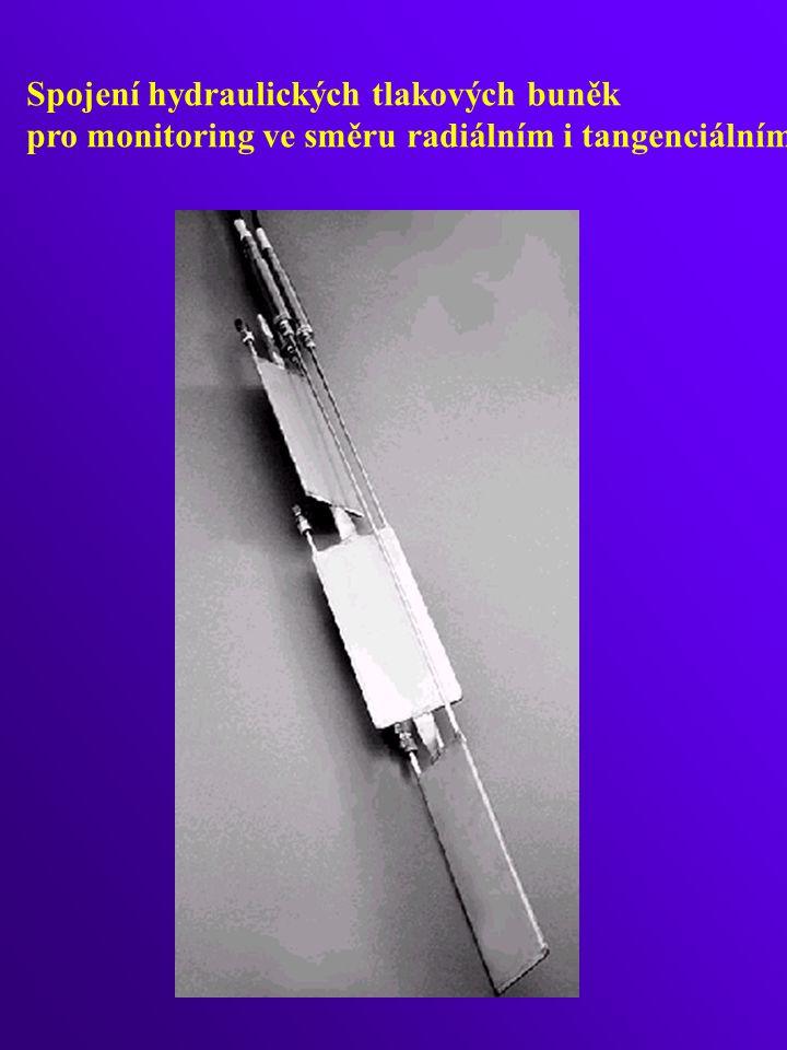 Spojení hydraulických tlakových buněk pro monitoring ve směru radiálním i tangenciálním