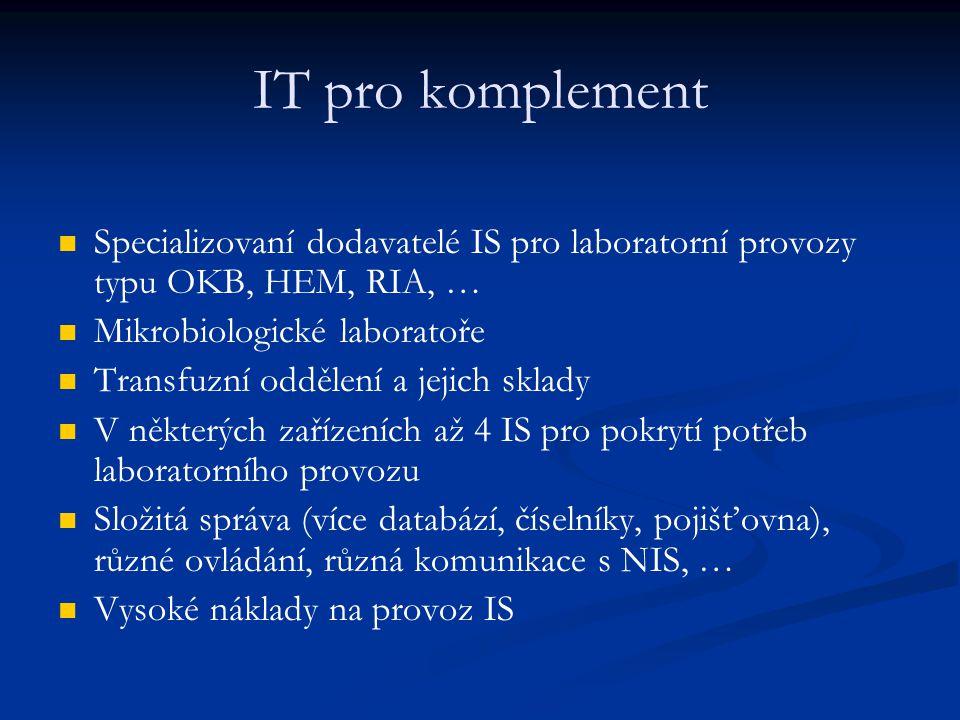 IT pro komplement Specializovaní dodavatelé IS pro laboratorní provozy typu OKB, HEM, RIA, … Mikrobiologické laboratoře Transfuzní oddělení a jejich s