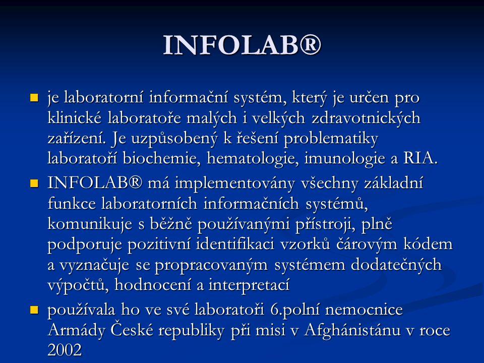 INFOLAB® je laboratorní informační systém, který je určen pro klinické laboratoře malých i velkých zdravotnických zařízení. Je uzpůsobený k řešení pro