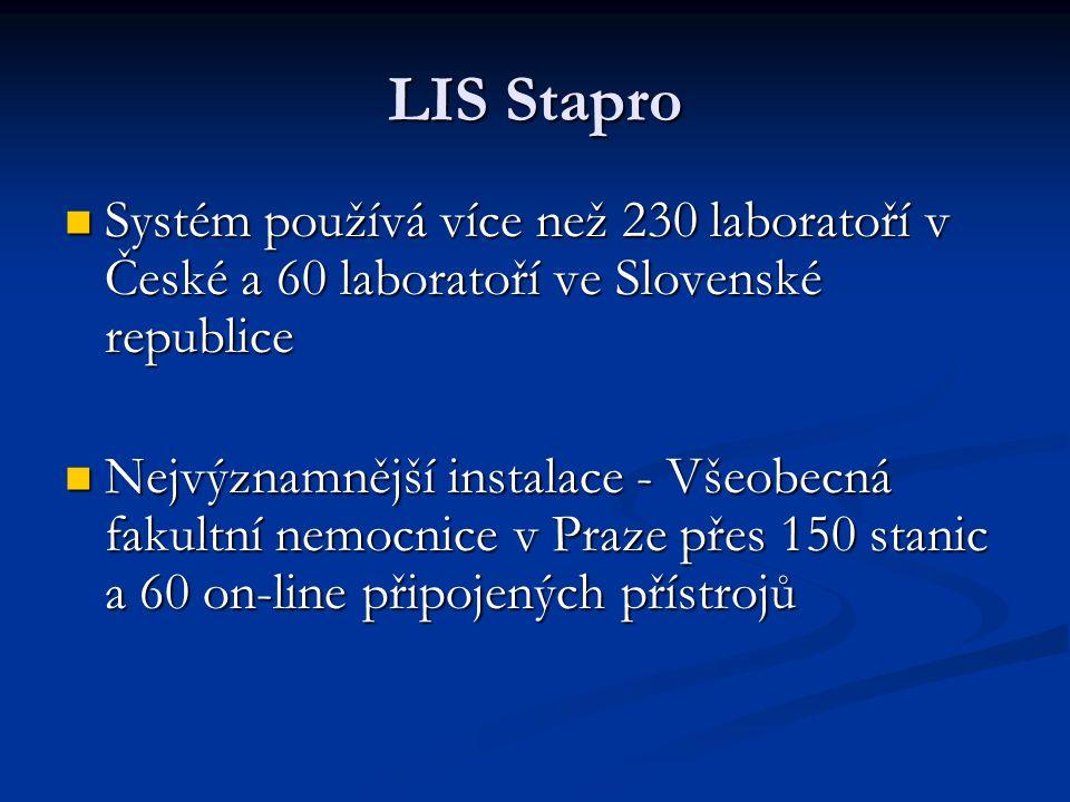 LIS Stapro Systém používá více než 230 laboratoří v České a 60 laboratoří ve Slovenské republice Systém používá více než 230 laboratoří v České a 60 l