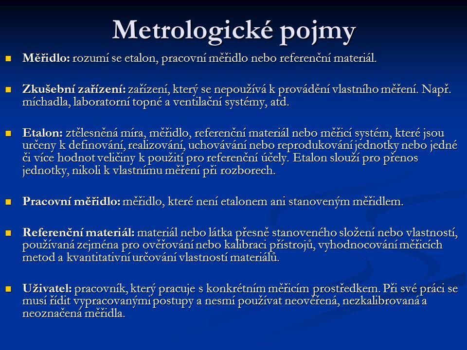 Metrologické pojmy Měřidlo: rozumí se etalon, pracovní měřidlo nebo referenční materiál. Měřidlo: rozumí se etalon, pracovní měřidlo nebo referenční m