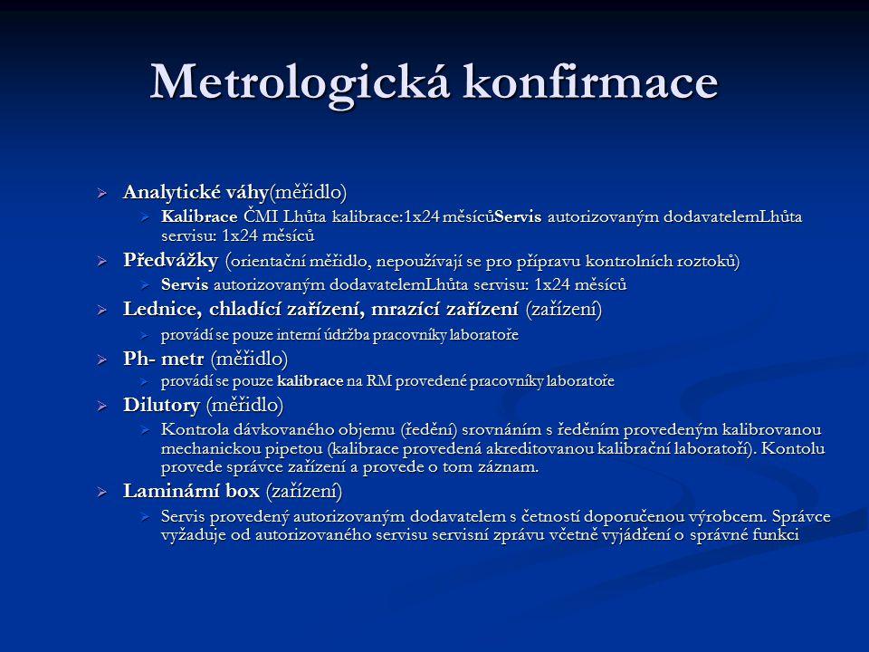 Metrologická konfirmace  Analytické váhy(měřidlo)  Kalibrace ČMI Lhůta kalibrace:1x24 měsícůServis autorizovaným dodavatelemLhůta servisu: 1x24 měsí