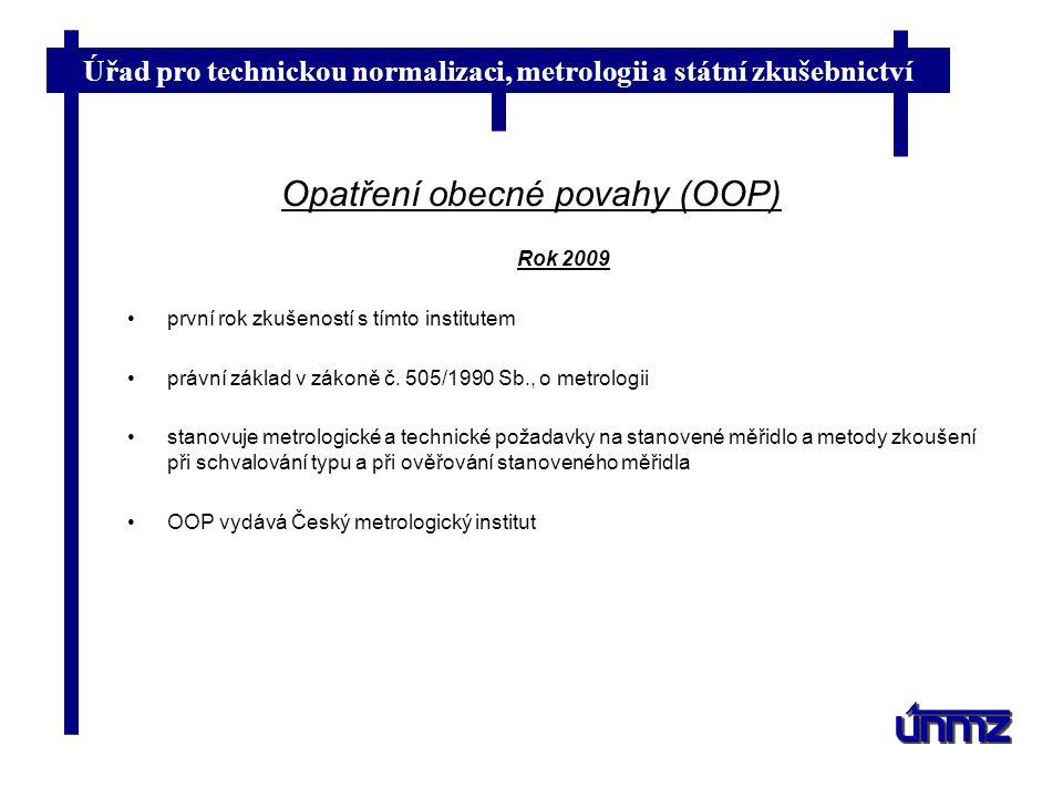 Úřad pro technickou normalizaci, metrologii a státní zkušebnictví Opatření obecné povahy (OOP) Rok 2009 první rok zkušeností s tímto institutem právní