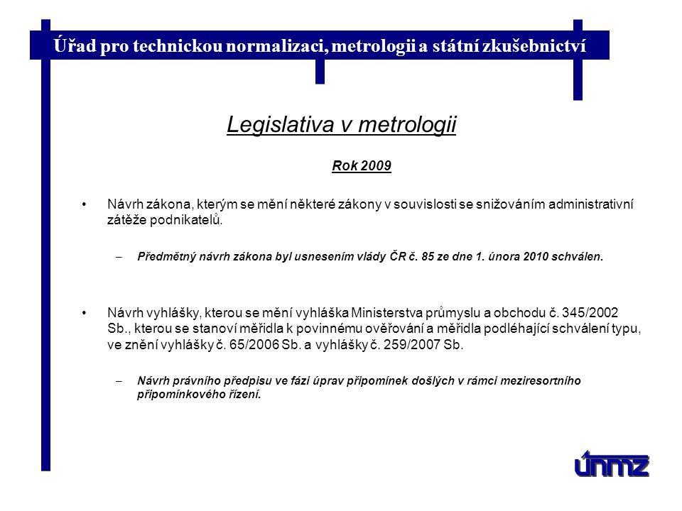Úřad pro technickou normalizaci, metrologii a státní zkušebnictví Legislativa v metrologii Rok 2009 Návrh zákona, kterým se mění některé zákony v souv