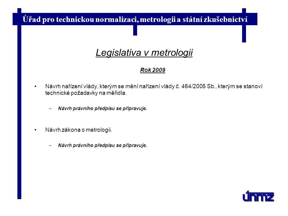 Úřad pro technickou normalizaci, metrologii a státní zkušebnictví Legislativa v metrologii Rok 2009 Návrh nařízení vlády, kterým se mění nařízení vlád