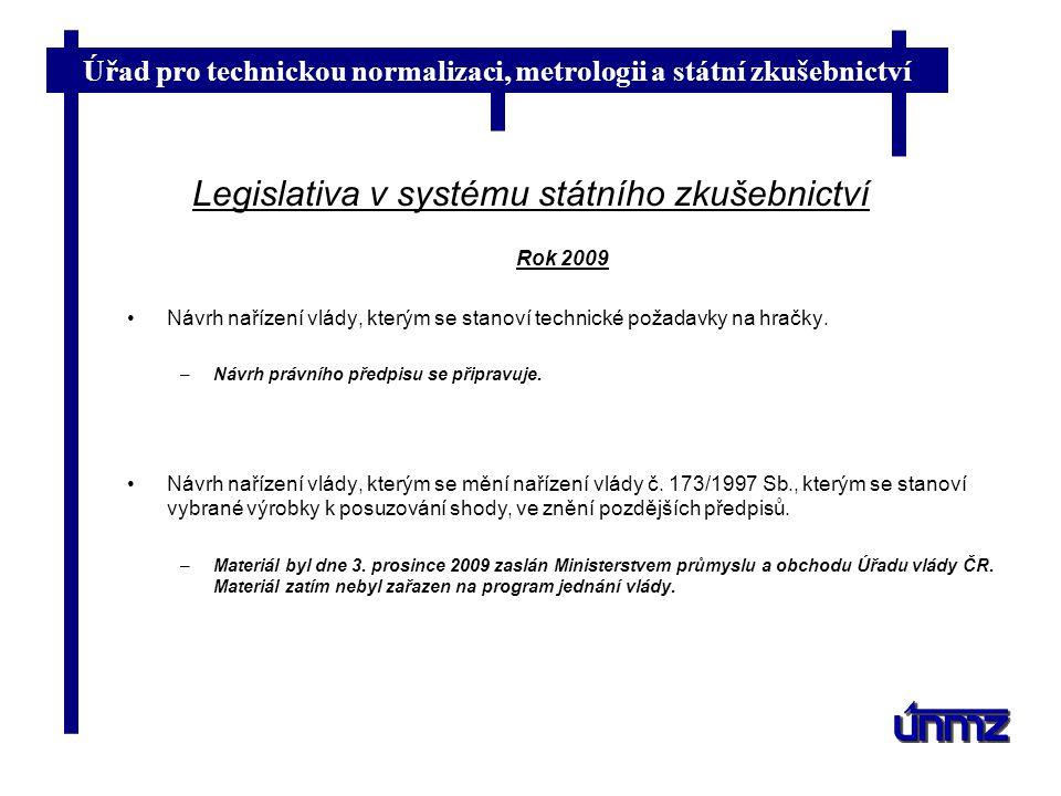 Úřad pro technickou normalizaci, metrologii a státní zkušebnictví Legislativa v systému státního zkušebnictví Rok 2009 Návrh nařízení vlády, kterým se