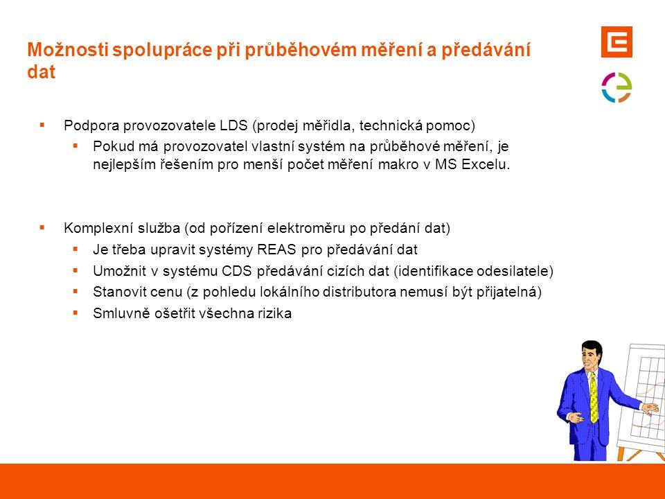 Možnosti spolupráce při průběhovém měření a předávání dat  Podpora provozovatele LDS (prodej měřidla, technická pomoc)  Pokud má provozovatel vlastn