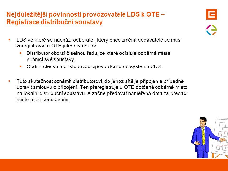 Nejdůležitější povinnosti provozovatele LDS k OTE – Registrace OPM zákazníků  Zaregistrovat odběrné místo zákazníka, který se rozhodl změnit dodavatele, v CDS.