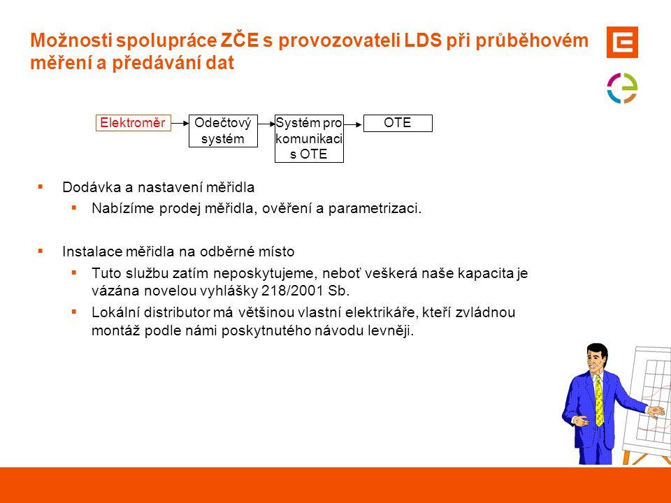 Možnosti spolupráce ZČE s provozovateli LDS při průběhovém měření a předávání dat  Dodávka a nastavení měřidla  Nabízíme prodej měřidla, ověření a p
