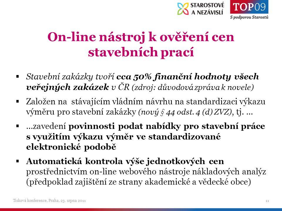 On-line nástroj k ověření cen stavebních prací Tisková konference, Praha, 23.