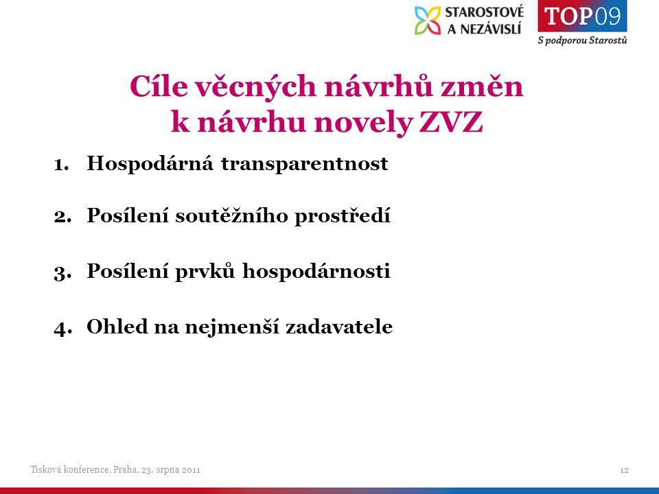 Cíle věcných návrhů změn k návrhu novely ZVZ Tisková konference, Praha, 23.