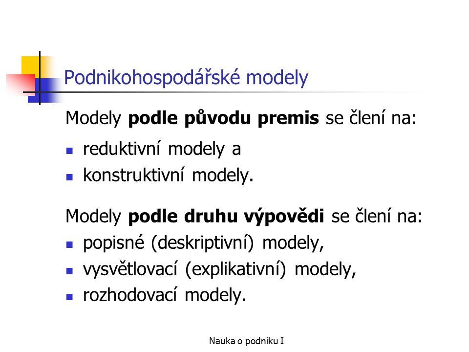 Nauka o podniku I Podnikohospodářské modely Podle druhu předpokladů o tom, jaký nastane výsledek modelu, rozlišujeme: deterministické modely, stochastické modely, modely her.