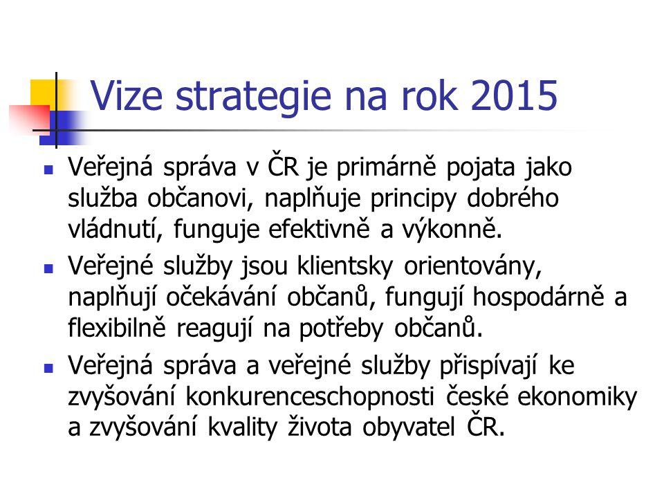 Vize strategie na rok 2015 Veřejná správa v ČR je primárně pojata jako služba občanovi, naplňuje principy dobrého vládnutí, funguje efektivně a výkonn