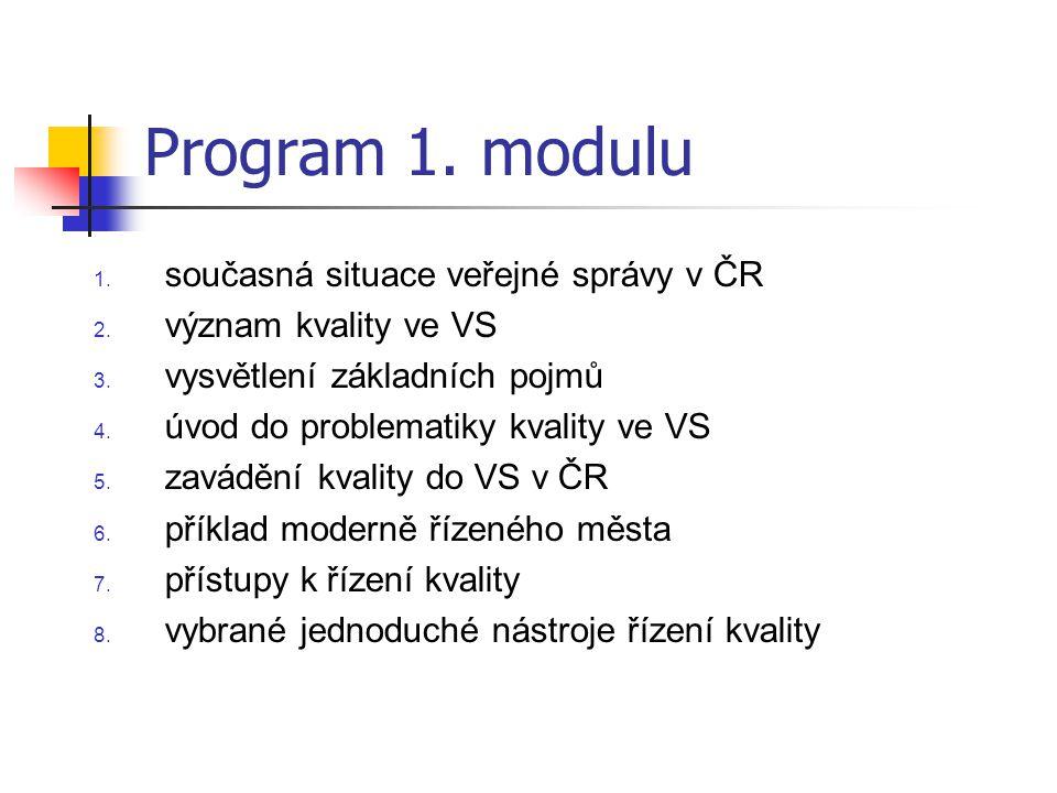 Program 1. modulu 1. současná situace veřejné správy v ČR 2. význam kvality ve VS 3. vysvětlení základních pojmů 4. úvod do problematiky kvality ve VS
