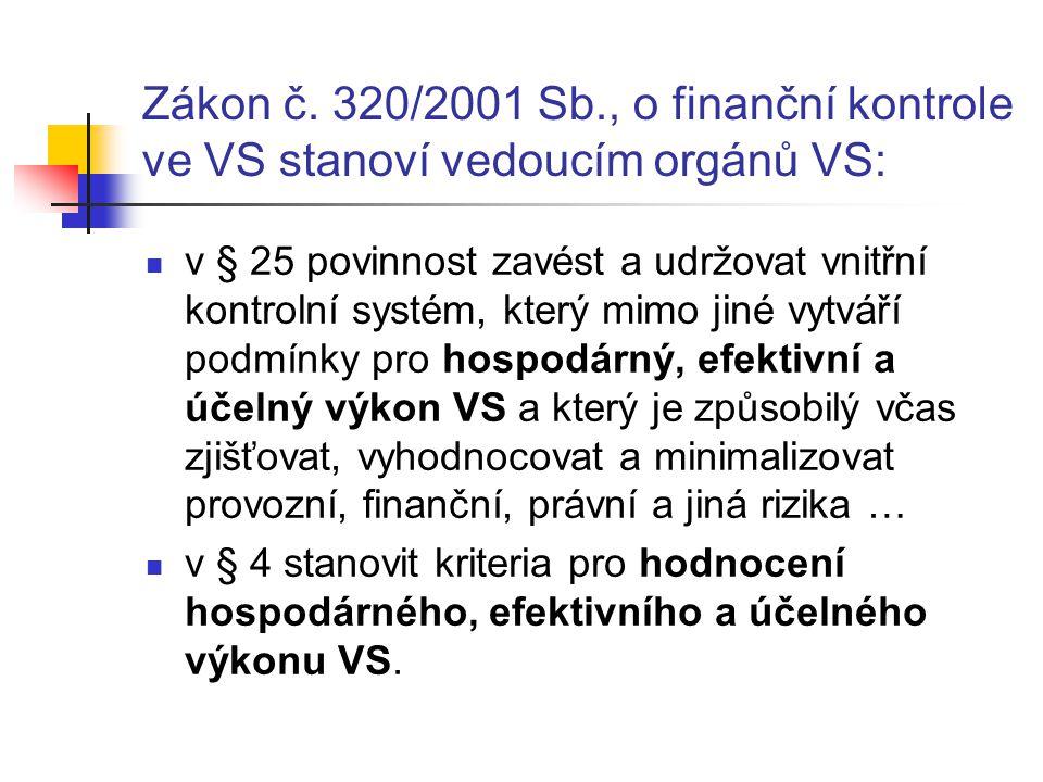 Zákon č. 320/2001 Sb., o finanční kontrole ve VS stanoví vedoucím orgánů VS: v § 25 povinnost zavést a udržovat vnitřní kontrolní systém, který mimo j