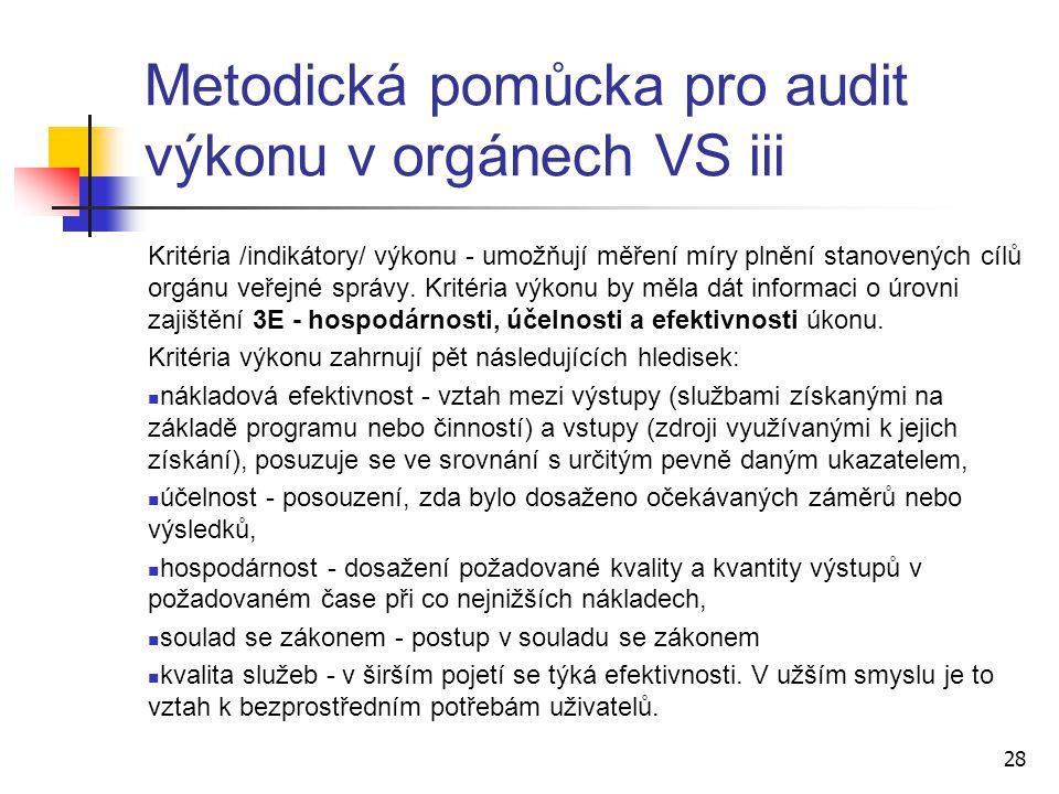 Kritéria /indikátory/ výkonu - umožňují měření míry plnění stanovených cílů orgánu veřejné správy. Kritéria výkonu by měla dát informaci o úrovni zaji
