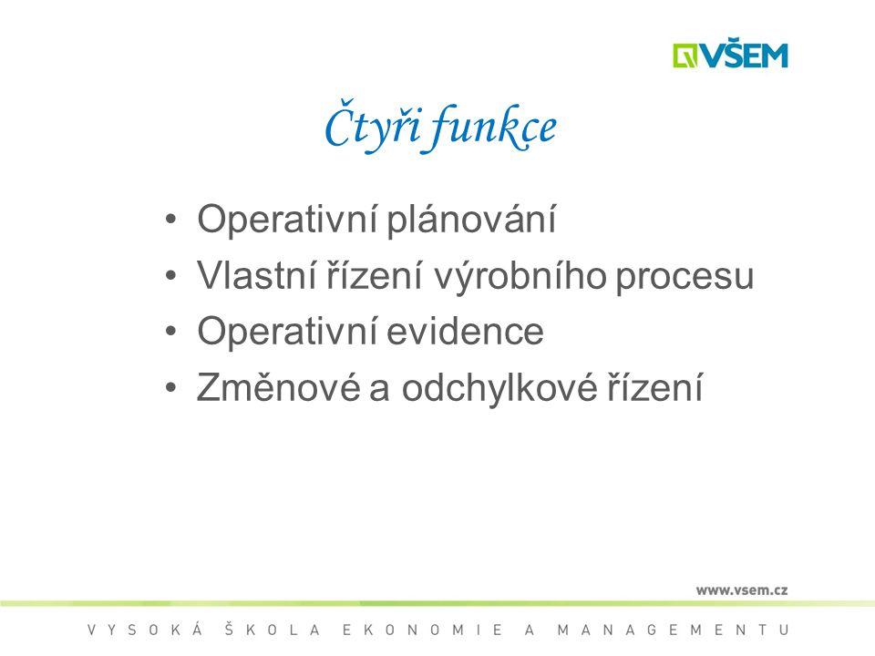 Čtyři funkce Operativní plánování Vlastní řízení výrobního procesu Operativní evidence Změnové a odchylkové řízení