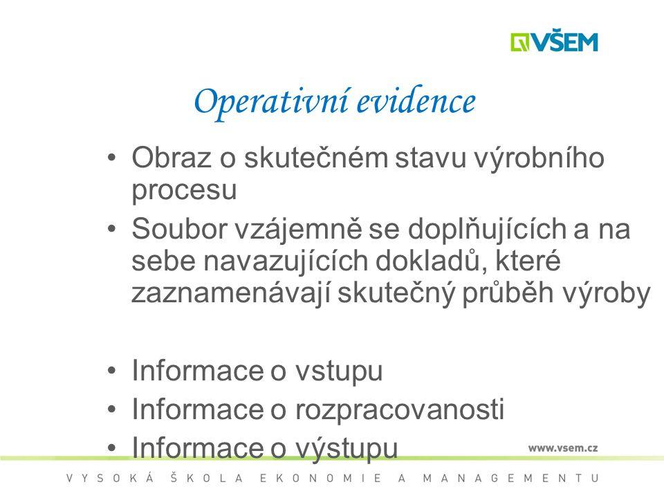 Operativní evidence Obraz o skutečném stavu výrobního procesu Soubor vzájemně se doplňujících a na sebe navazujících dokladů, které zaznamenávají skutečný průběh výroby Informace o vstupu Informace o rozpracovanosti Informace o výstupu