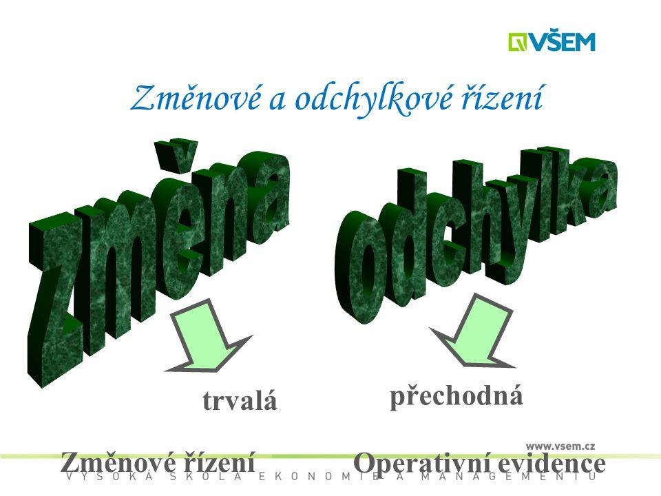 Změnové a odchylkové řízení trvalá přechodná Změnové řízení Operativní evidence