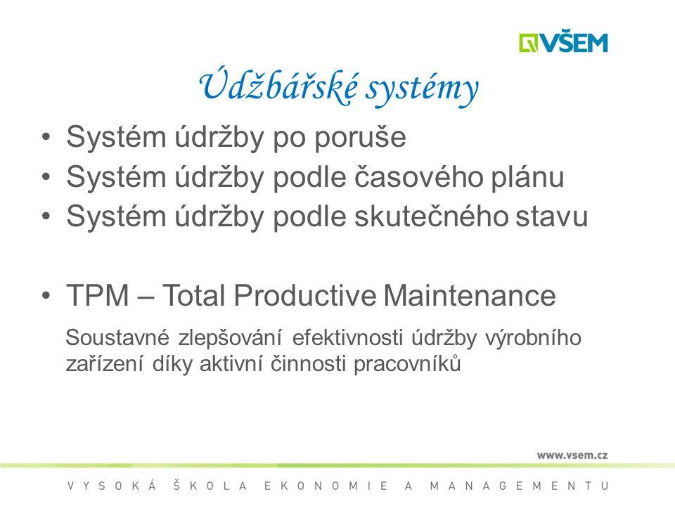 Údžbářské systémy Systém údržby po poruše Systém údržby podle časového plánu Systém údržby podle skutečného stavu TPM – Total Productive Maintenance Soustavné zlepšování efektivnosti údržby výrobního zařízení díky aktivní činnosti pracovníků